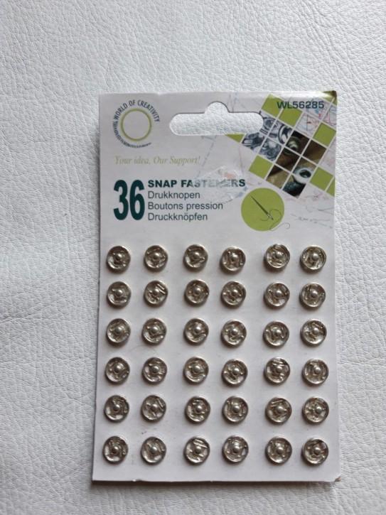 Annähdruckknöpfe silberfarbig Metall 8,5mm 36 Stück