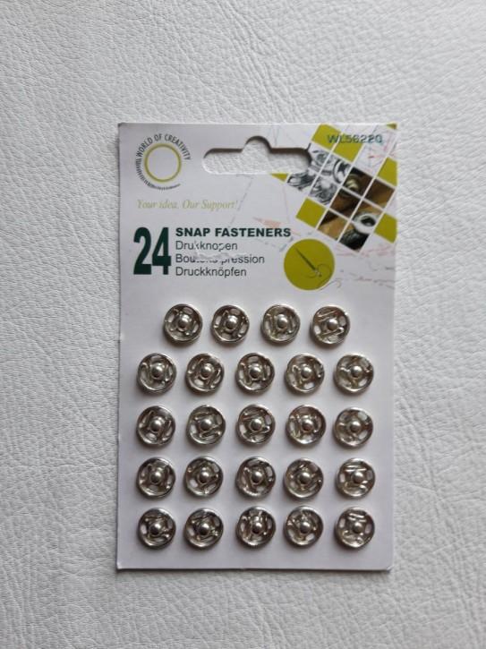 Annähdruckknöpfe silberfarbig Metall 12mm 24 Stück