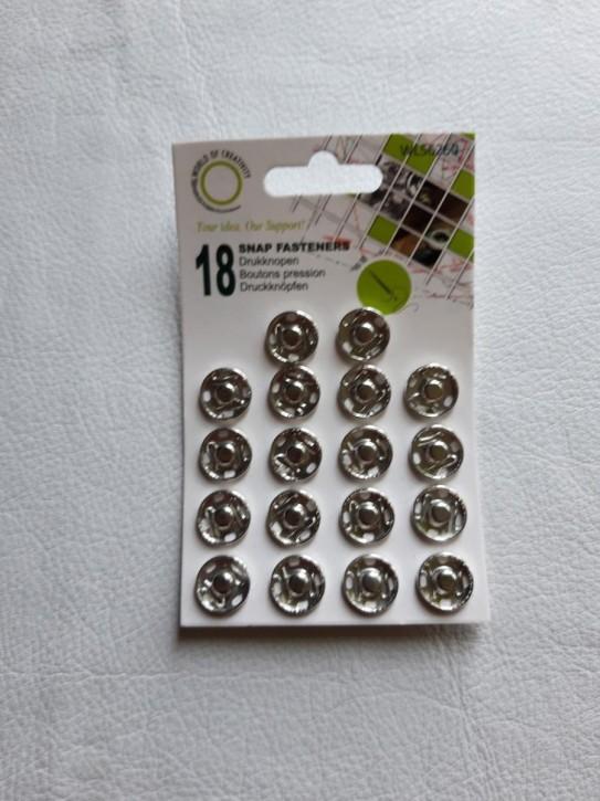 Annähdruckknöpfe silberfarbig Metall 15mm 18 Stück