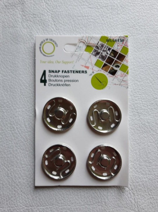 Annähdruckknöpfe silberfarbig Metall 30mm 4 Stück