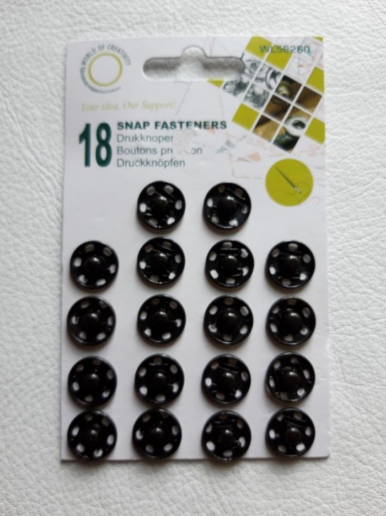 Annähdruckknöpfe schwarz Metall 16mm 18 Stück