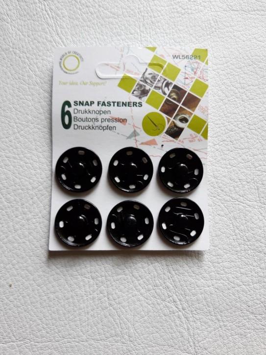 Annähdruckknöpfe schwarz Metall 21mm 6 Stück