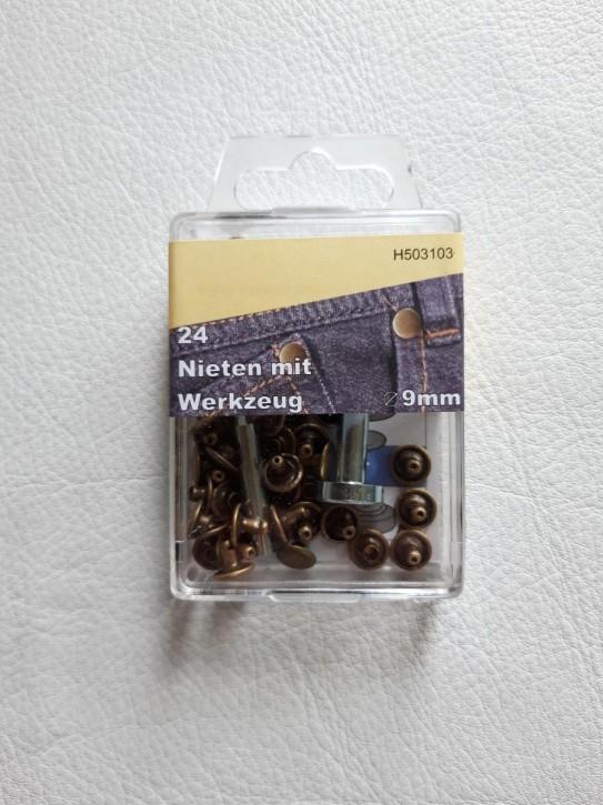Nieten altmessing 9mm 24 Stück mit Werkzeug