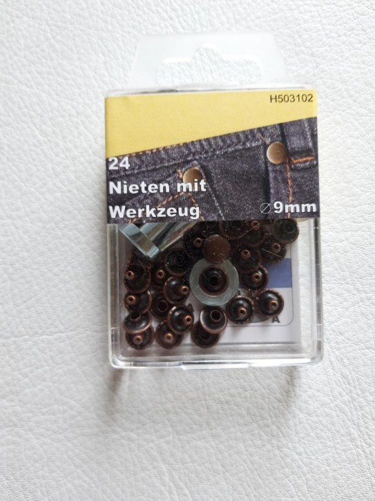 Nieten altkupfer 9mm 24 Stück mit Werkzeug