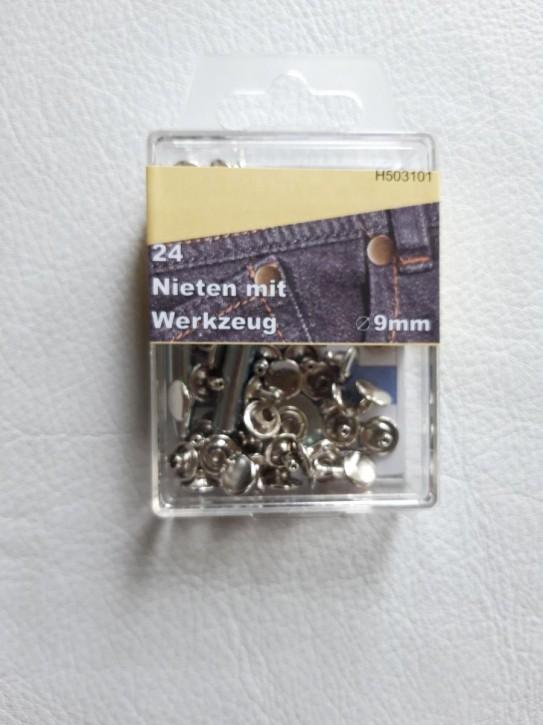 Nieten silber 9mm 24 Stück mit Werkzeug