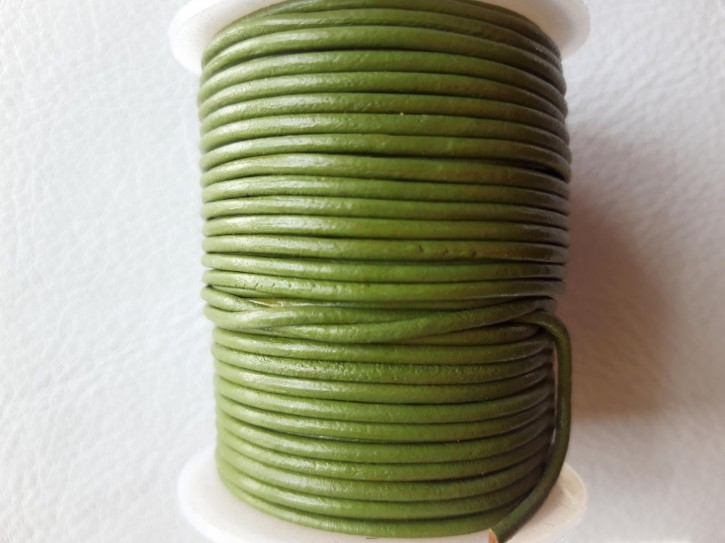 Lederriemen rund, pflanzlich gegerbtes Rindsleder laubgrün