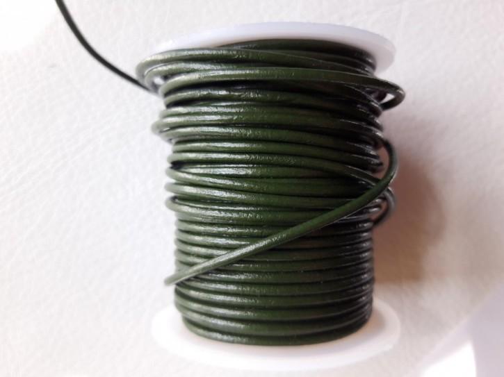 Lederriemen rund, pflanzlich gegerbtes Rindsleder dunkelgrün