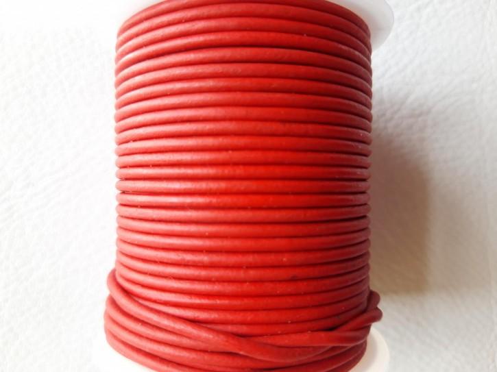 Lederriemen rund, pflanzlich gegerbtes Rindsleder natur rot