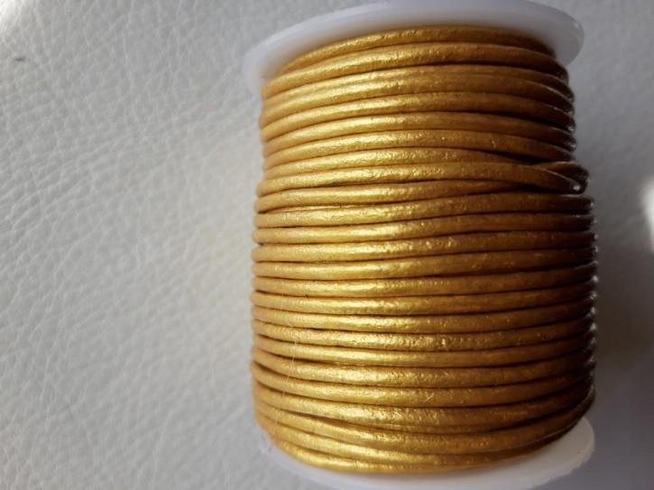 Lederriemen rund, pflanzlich gegerbtes Rindsleder metallic gold